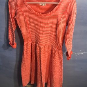 Maison Jules short orange and white dress